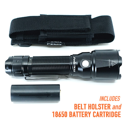 Fenix TK22 V2 Tactical Flashlight includes belt holster and 18650 battery cartridge