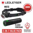 LEDLenser MH10 Headlamp with Flex3 PowerBank