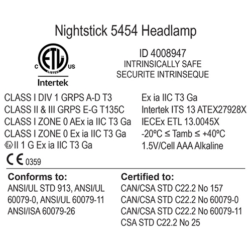 Nightstick XPP-5454G Intrinsically Safe Headlamp