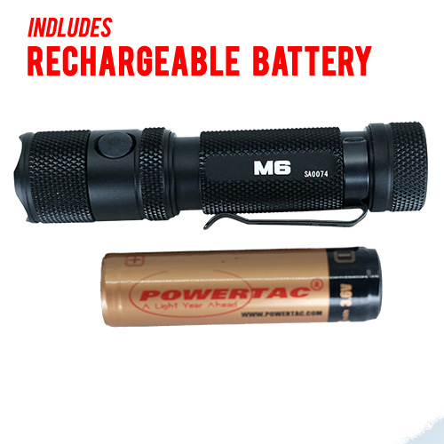 Tac M6 Rechargeable Flashlight With Magnetic Base