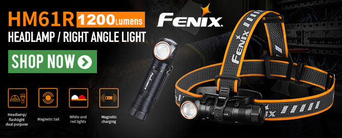 Fenix HM61R Rechargeable Headlamp & Right Angle Light