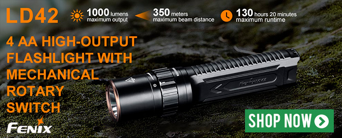 Fenix LD42 High Output Flashlight with Rotary Switch